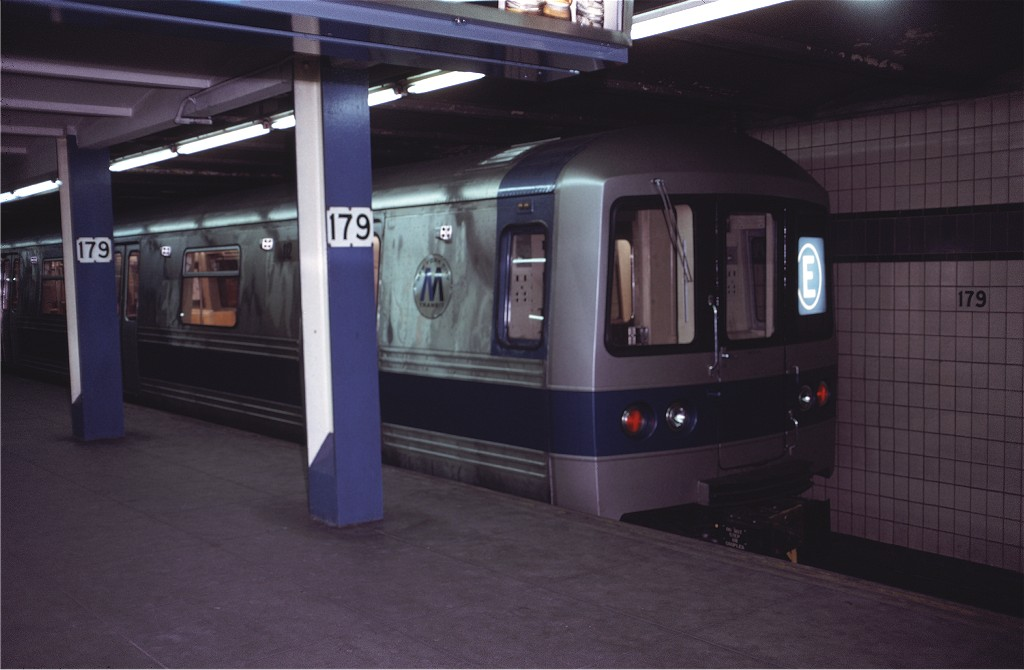 (122k, 1024x670)<br><b>Country:</b> United States<br><b>City:</b> New York<br><b>System:</b> New York City Transit<br><b>Line:</b> IND Queens Boulevard Line<br><b>Location:</b> 179th Street <br><b>Route:</b> E<br><b>Car:</b> R-44 (St. Louis, 1971-73) 112 <br><b>Photo by:</b> Doug Grotjahn<br><b>Collection of:</b> Joe Testagrose<br><b>Date:</b> 12/16/1971<br><b>Viewed (this week/total):</b> 2 / 1532