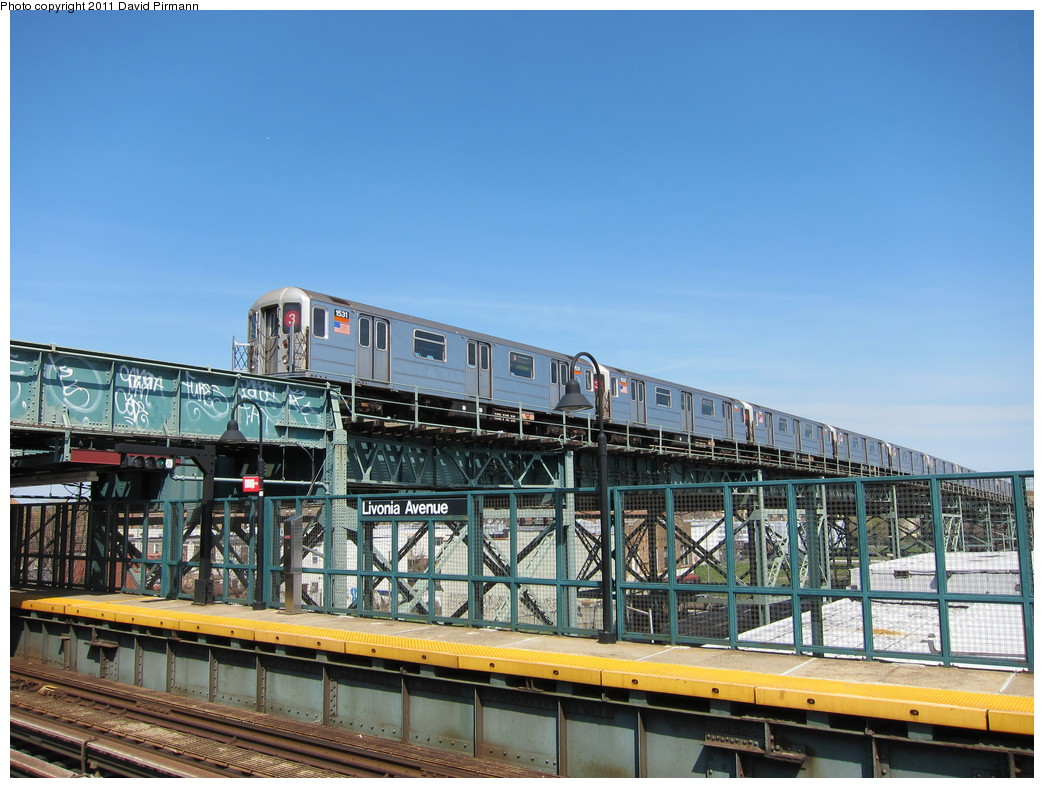 (233k, 1044x788)<br><b>Country:</b> United States<br><b>City:</b> New York<br><b>System:</b> New York City Transit<br><b>Line:</b> BMT Canarsie Line<br><b>Location:</b> Livonia Avenue <br><b>Route:</b> 3<br><b>Car:</b> R-62 (Kawasaki, 1983-1985)  1531 <br><b>Photo by:</b> David Pirmann<br><b>Date:</b> 4/9/2011<br><b>Notes:</b> View of IRT from Canarsie line platform.<br><b>Viewed (this week/total):</b> 2 / 533