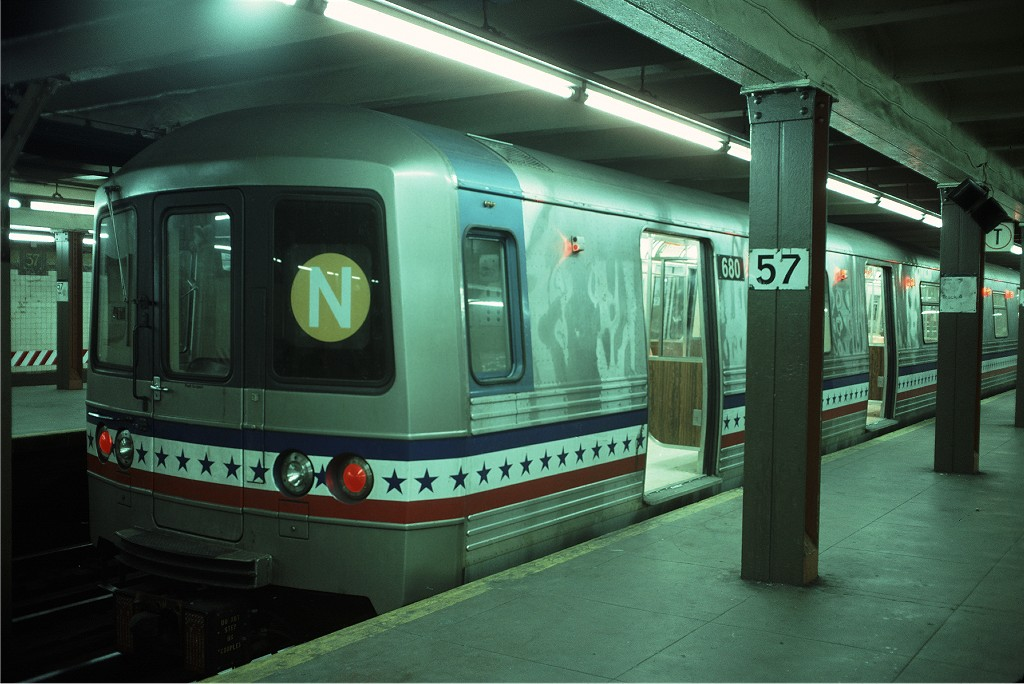 (172k, 1024x684)<br><b>Country:</b> United States<br><b>City:</b> New York<br><b>System:</b> New York City Transit<br><b>Line:</b> BMT Broadway Line<br><b>Location:</b> 57th Street <br><b>Route:</b> N<br><b>Car:</b> R-46 (Pullman-Standard, 1974-75) 680 <br><b>Photo by:</b> Doug Grotjahn<br><b>Collection of:</b> Joe Testagrose<br><b>Date:</b> 5/14/1977<br><b>Viewed (this week/total):</b> 9 / 1616