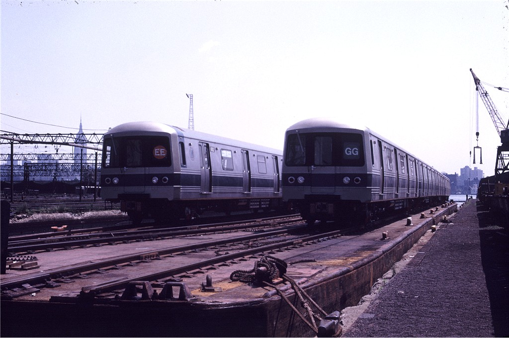 (175k, 1024x680)<br><b>Country:</b> United States<br><b>City:</b> Hoboken, NJ<br><b>System:</b> New York City Transit<br><b>Location:</b> Hoboken Yard <br><b>Car:</b> R-46 (Pullman-Standard, 1974-75) 684 <br><b>Photo by:</b> Gerald H. Landau<br><b>Collection of:</b> Joe Testagrose<br><b>Date:</b> 6/27/1976<br><b>Viewed (this week/total):</b> 4 / 485