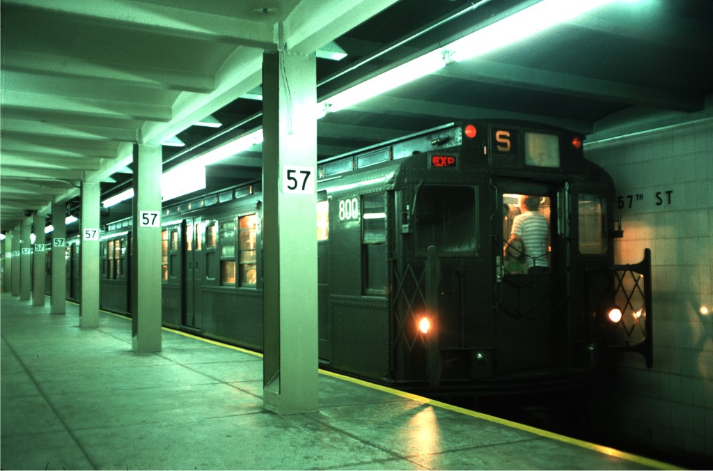 (153k, 1024x676)<br><b>Country:</b> United States<br><b>City:</b> New York<br><b>System:</b> New York City Transit<br><b>Line:</b> IND 6th Avenue Line<br><b>Location:</b> 57th Street <br><b>Route:</b> Transit Museum Nostalgia Train<br><b>Car:</b> R-4 (American Car & Foundry, 1932-1933) 800 <br><b>Photo by:</b> Doug Grotjahn<br><b>Collection of:</b> Joe Testagrose<br><b>Date:</b> 8/22/1976<br><b>Viewed (this week/total):</b> 4 / 614