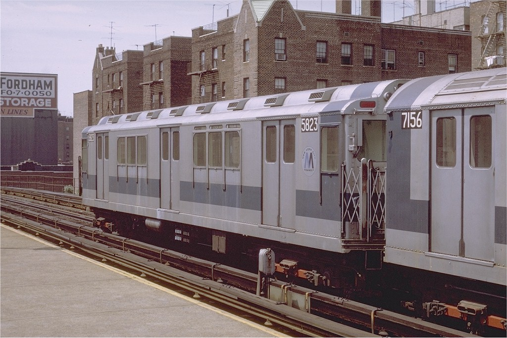 (219k, 1024x683)<br><b>Country:</b> United States<br><b>City:</b> New York<br><b>System:</b> New York City Transit<br><b>Line:</b> IRT Woodlawn Line<br><b>Location:</b> 183rd Street <br><b>Route:</b> 4<br><b>Car:</b> R-14 (American Car & Foundry, 1949) 5823 <br><b>Photo by:</b> Joe Testagrose<br><b>Date:</b> 8/7/1971<br><b>Viewed (this week/total):</b> 2 / 2788