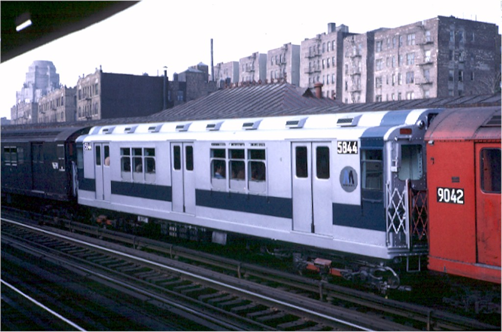 (158k, 1024x678)<br><b>Country:</b> United States<br><b>City:</b> New York<br><b>System:</b> New York City Transit<br><b>Line:</b> IRT White Plains Road Line<br><b>Location:</b> 174th Street <br><b>Car:</b> R-14 (American Car & Foundry, 1949) 5844 <br><b>Photo by:</b> Steve Zabel<br><b>Collection of:</b> Joe Testagrose<br><b>Date:</b> 10/12/1970<br><b>Viewed (this week/total):</b> 0 / 2505