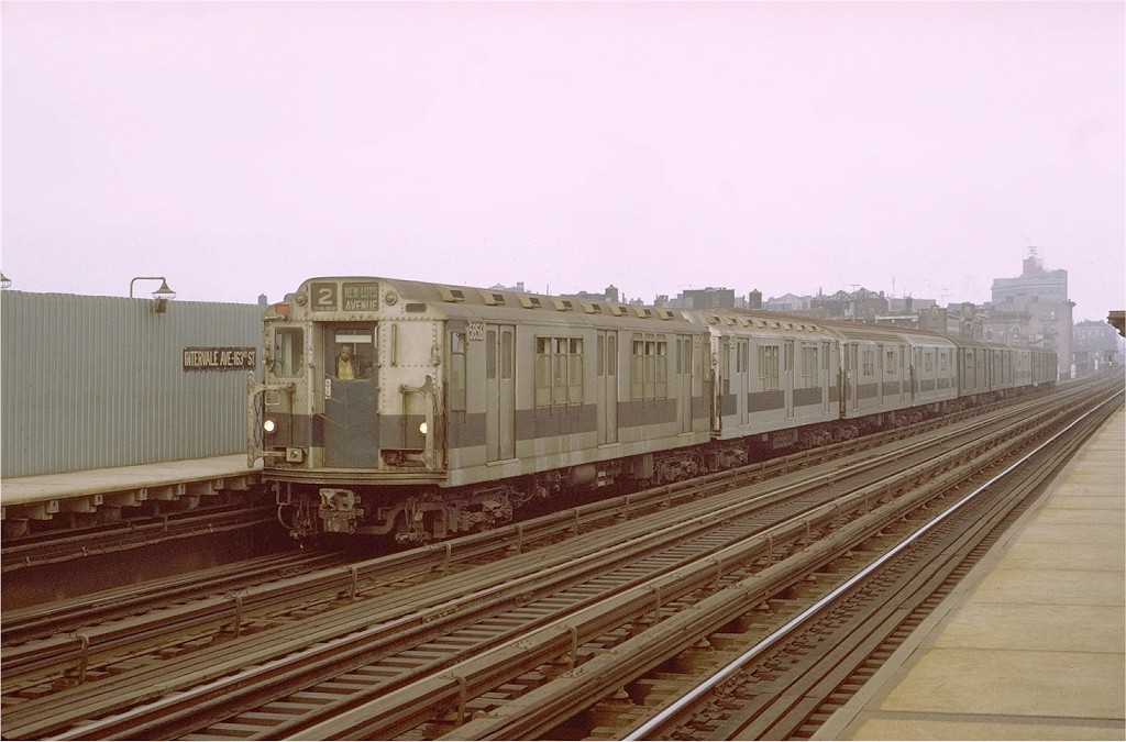 (165k, 1024x675)<br><b>Country:</b> United States<br><b>City:</b> New York<br><b>System:</b> New York City Transit<br><b>Line:</b> IRT White Plains Road Line<br><b>Location:</b> Intervale Avenue <br><b>Route:</b> 2<br><b>Car:</b> R-14 (American Car & Foundry, 1949) 5856 <br><b>Photo by:</b> Joe Testagrose<br><b>Date:</b> 10/23/1971<br><b>Viewed (this week/total):</b> 0 / 2326