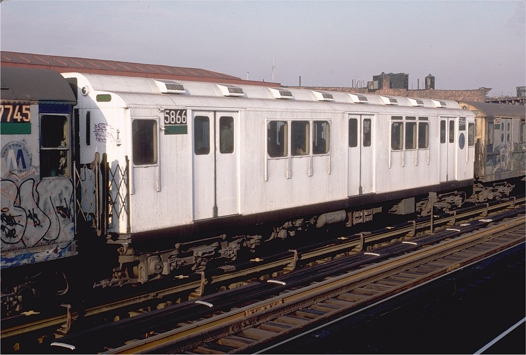 (201k, 1024x691)<br><b>Country:</b> United States<br><b>City:</b> New York<br><b>System:</b> New York City Transit<br><b>Line:</b> IRT White Plains Road Line<br><b>Location:</b> Intervale Avenue <br><b>Route:</b> 2<br><b>Car:</b> R-14 (American Car & Foundry, 1949) 5866 <br><b>Photo by:</b> Doug Grotjahn<br><b>Collection of:</b> Joe Testagrose<br><b>Date:</b> 12/24/1982<br><b>Viewed (this week/total):</b> 2 / 3873
