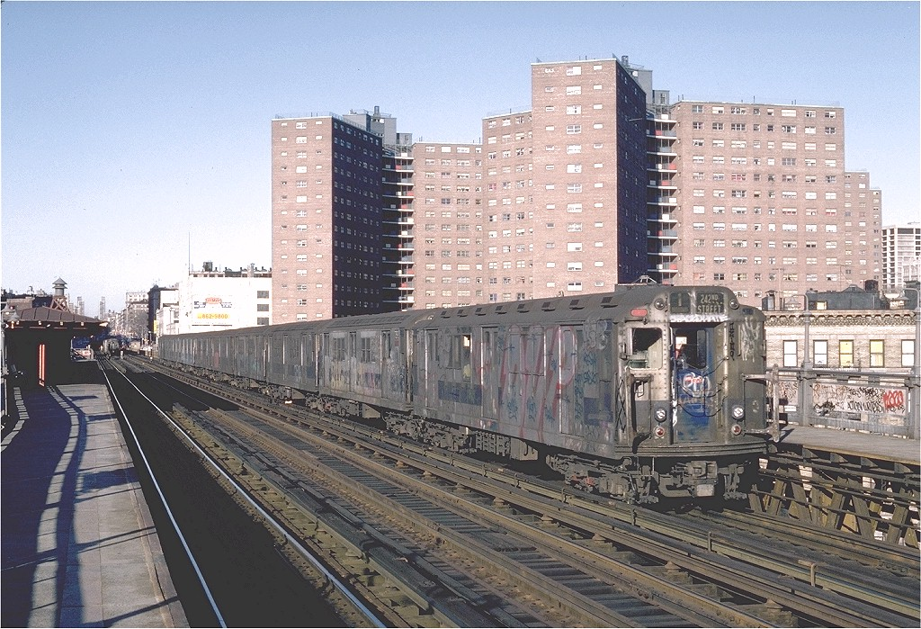 (268k, 1024x699)<br><b>Country:</b> United States<br><b>City:</b> New York<br><b>System:</b> New York City Transit<br><b>Line:</b> IRT West Side Line<br><b>Location:</b> 125th Street <br><b>Route:</b> 1<br><b>Car:</b> R-14 (American Car & Foundry, 1949) 5935 <br><b>Photo by:</b> Steve Zabel<br><b>Collection of:</b> Joe Testagrose<br><b>Date:</b> 2/25/1982<br><b>Viewed (this week/total):</b> 3 / 4423