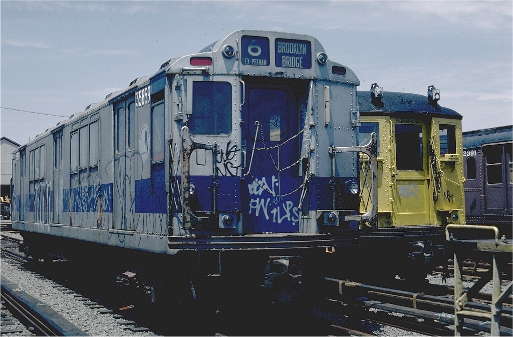 (219k, 1024x673)<br><b>Country:</b> United States<br><b>City:</b> New York<br><b>System:</b> New York City Transit<br><b>Location:</b> 36th Street Yard<br><b>Car:</b> R-14 (American Car & Foundry, 1949) 35859 (ex-5859)<br><b>Photo by:</b> Steve Zabel<br><b>Collection of:</b> Joe Testagrose<br><b>Date:</b> 6/17/1981<br><b>Viewed (this week/total):</b> 0 / 3306