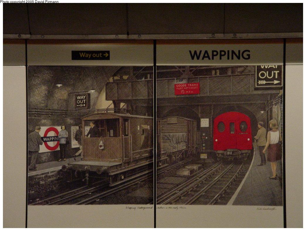 (173k, 1044x788)<br><b>Country:</b> United Kingdom<br><b>City:</b> London<br><b>System:</b> London Underground<br><b>Line:</b> East London<br><b>Location:</b> Wapping <br><b>Photo by:</b> David Pirmann<br><b>Date:</b> 4/21/2000<br><b>Notes:</b> Station artwork by artist Nick Hardcastle.<br><b>Viewed (this week/total):</b> 7 / 4296