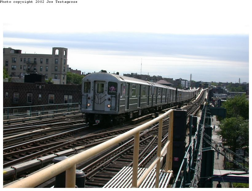 (126k, 820x620)<br><b>Country:</b> United States<br><b>City:</b> New York<br><b>System:</b> New York City Transit<br><b>Line:</b> IRT Flushing Line<br><b>Location:</b> 69th Street/Fisk Avenue <br><b>Route:</b> 7<br><b>Car:</b> R-62A (Bombardier, 1984-1987)  1690 <br><b>Photo by:</b> Joe Testagrose<br><b>Date:</b> 6/4/2002<br><b>Viewed (this week/total):</b> 3 / 2755