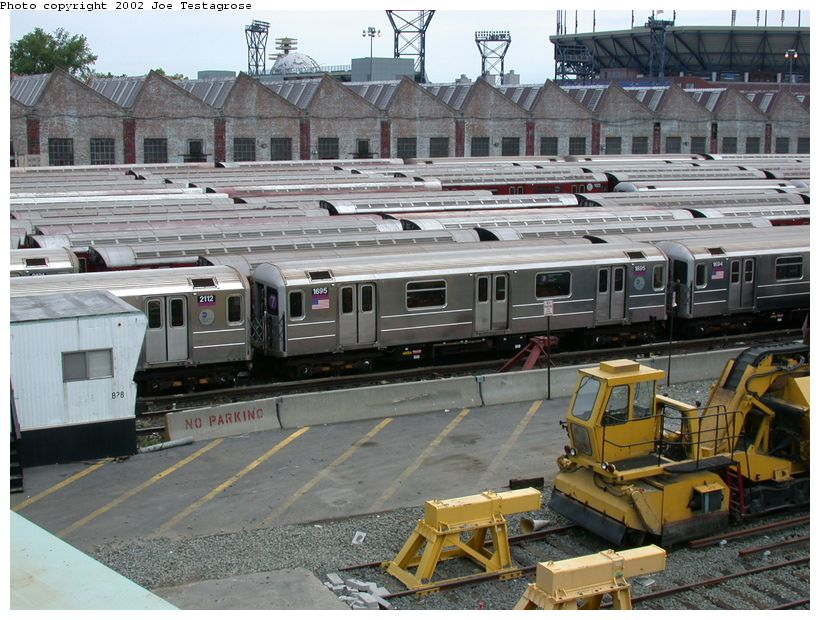 (147k, 820x620)<br><b>Country:</b> United States<br><b>City:</b> New York<br><b>System:</b> New York City Transit<br><b>Location:</b> Corona Yard<br><b>Car:</b> R-62A (Bombardier, 1984-1987)  1695 <br><b>Photo by:</b> Joe Testagrose<br><b>Date:</b> 6/4/2002<br><b>Viewed (this week/total):</b> 1 / 2952