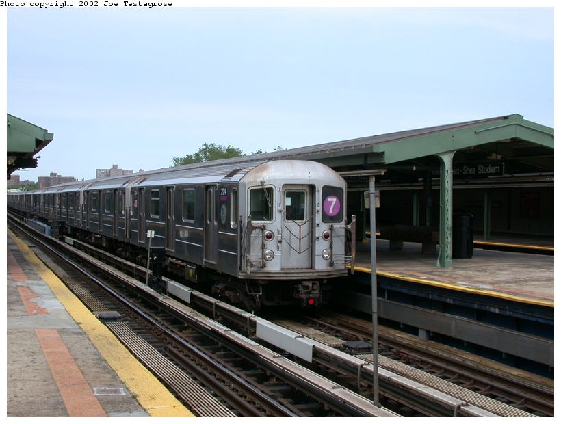 (116k, 820x620)<br><b>Country:</b> United States<br><b>City:</b> New York<br><b>System:</b> New York City Transit<br><b>Line:</b> IRT Flushing Line<br><b>Location:</b> Willets Point/Mets (fmr. Shea Stadium) <br><b>Route:</b> 7<br><b>Car:</b> R-62A (Bombardier, 1984-1987)  2124 <br><b>Photo by:</b> Joe Testagrose<br><b>Date:</b> 6/4/2002<br><b>Viewed (this week/total):</b> 0 / 2243