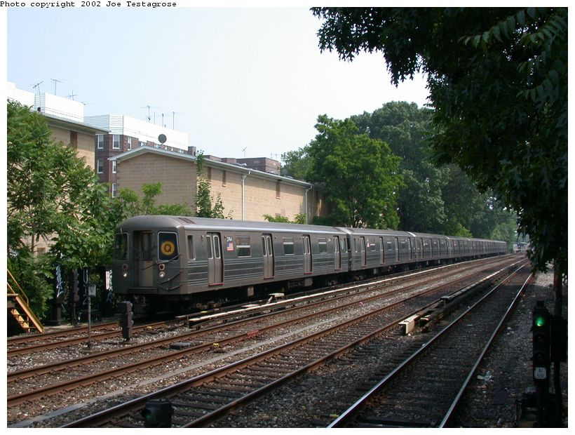 (147k, 820x620)<br><b>Country:</b> United States<br><b>City:</b> New York<br><b>System:</b> New York City Transit<br><b>Line:</b> BMT Brighton Line<br><b>Location:</b> Avenue H <br><b>Route:</b> Q<br><b>Car:</b> R-68 (Westinghouse-Amrail, 1986-1988)  2764 <br><b>Photo by:</b> Joe Testagrose<br><b>Date:</b> 6/11/2002<br><b>Viewed (this week/total):</b> 0 / 3487