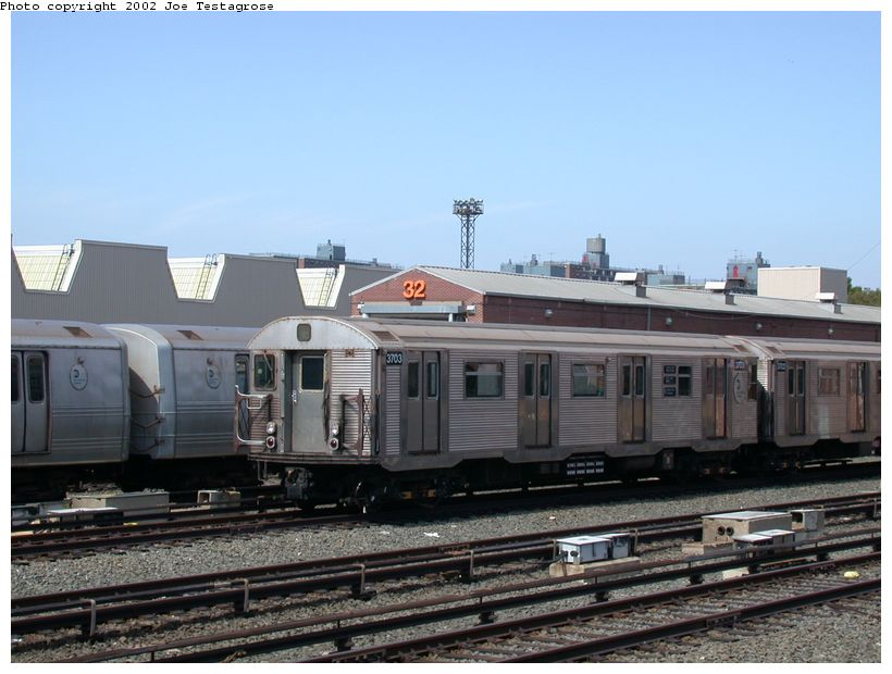 (115k, 820x620)<br><b>Country:</b> United States<br><b>City:</b> New York<br><b>System:</b> New York City Transit<br><b>Location:</b> Coney Island Yard<br><b>Car:</b> R-32 (Budd, 1964)  3703 <br><b>Photo by:</b> Joe Testagrose<br><b>Date:</b> 9/22/2002<br><b>Viewed (this week/total):</b> 0 / 3531