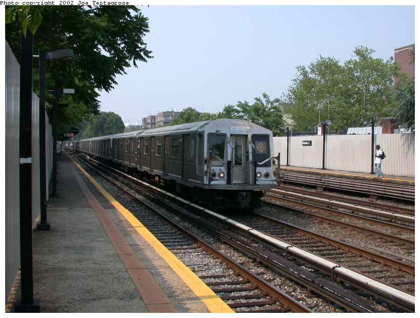 (140k, 820x620)<br><b>Country:</b> United States<br><b>City:</b> New York<br><b>System:</b> New York City Transit<br><b>Line:</b> BMT Brighton Line<br><b>Location:</b> Avenue J <br><b>Route:</b> Q<br><b>Car:</b> R-40 (St. Louis, 1968)  4195 <br><b>Photo by:</b> Joe Testagrose<br><b>Date:</b> 6/11/2002<br><b>Viewed (this week/total):</b> 0 / 3689