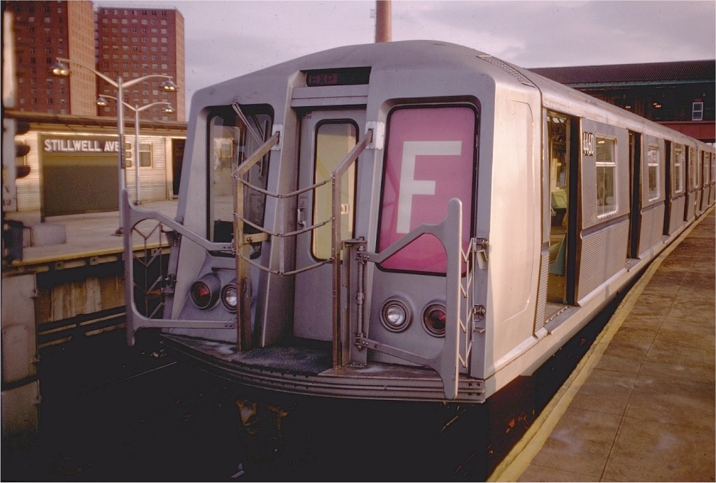 (179k, 1024x691)<br><b>Country:</b> United States<br><b>City:</b> New York<br><b>System:</b> New York City Transit<br><b>Location:</b> Coney Island/Stillwell Avenue<br><b>Route:</b> F<br><b>Car:</b> R-40 (St. Louis, 1968)  4460 <br><b>Photo by:</b> Doug Grotjahn<br><b>Collection of:</b> Joe Testagrose<br><b>Date:</b> 12/21/1968<br><b>Viewed (this week/total):</b> 1 / 3358