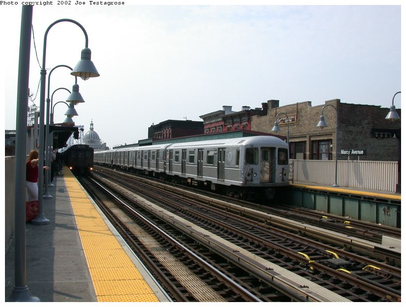 (123k, 820x620)<br><b>Country:</b> United States<br><b>City:</b> New York<br><b>System:</b> New York City Transit<br><b>Line:</b> BMT Nassau Street/Jamaica Line<br><b>Location:</b> Marcy Avenue <br><b>Route:</b> J<br><b>Car:</b> R-40M (St. Louis, 1969)  4467 <br><b>Photo by:</b> Joe Testagrose<br><b>Date:</b> 5/27/2002<br><b>Viewed (this week/total):</b> 0 / 3371