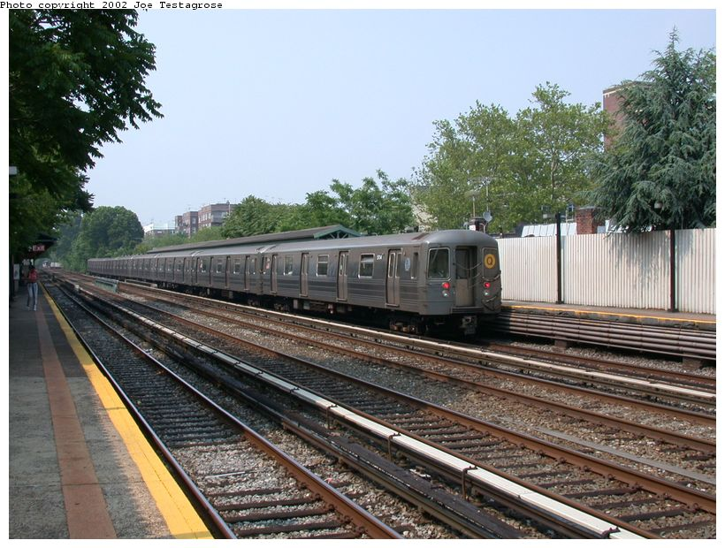 (152k, 820x620)<br><b>Country:</b> United States<br><b>City:</b> New York<br><b>System:</b> New York City Transit<br><b>Line:</b> BMT Brighton Line<br><b>Location:</b> Avenue J <br><b>Route:</b> Q<br><b>Car:</b> R-68A (Kawasaki, 1988-1989)  5114 <br><b>Photo by:</b> Joe Testagrose<br><b>Date:</b> 6/11/2002<br><b>Viewed (this week/total):</b> 1 / 3114