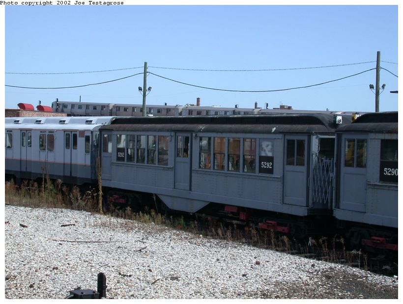 (128k, 820x620)<br><b>Country:</b> United States<br><b>City:</b> New York<br><b>System:</b> New York City Transit<br><b>Location:</b> Coney Island Yard-Museum Yard<br><b>Car:</b> Low-V (Museum Train) 5292 <br><b>Photo by:</b> Joe Testagrose<br><b>Date:</b> 9/22/2002<br><b>Viewed (this week/total):</b> 0 / 2241