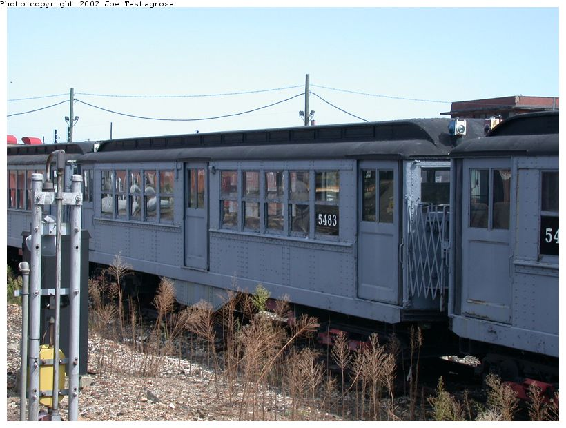 (126k, 820x620)<br><b>Country:</b> United States<br><b>City:</b> New York<br><b>System:</b> New York City Transit<br><b>Location:</b> Coney Island Yard-Museum Yard<br><b>Car:</b> Low-V (Museum Train) 5483 <br><b>Photo by:</b> Joe Testagrose<br><b>Date:</b> 9/22/2002<br><b>Viewed (this week/total):</b> 0 / 2337