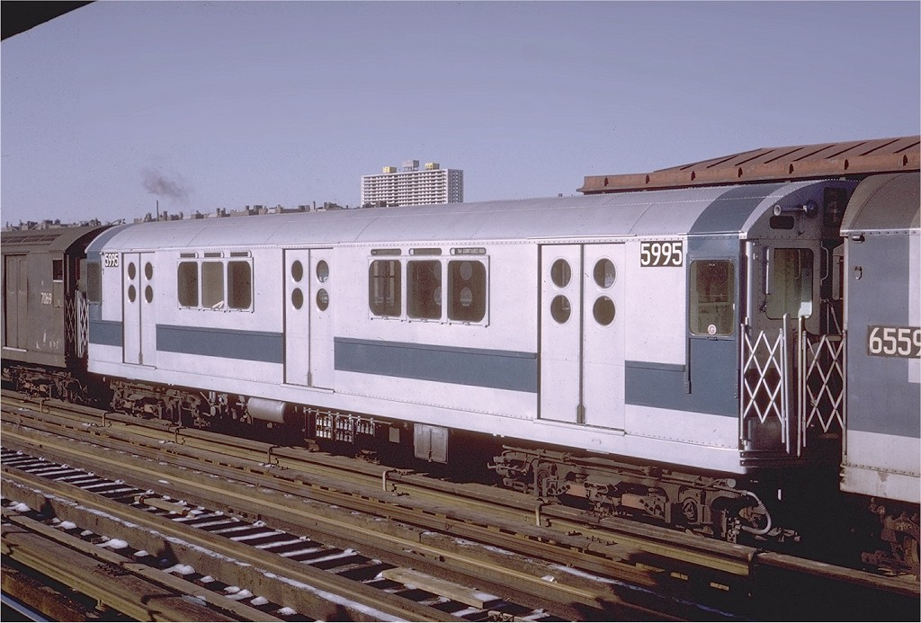 (190k, 1024x693)<br><b>Country:</b> United States<br><b>City:</b> New York<br><b>System:</b> New York City Transit<br><b>Line:</b> IRT Woodlawn Line<br><b>Location:</b> 170th Street <br><b>Route:</b> 4<br><b>Car:</b> R-15 (American Car & Foundry, 1950) 5995 <br><b>Photo by:</b> Steve Zabel<br><b>Collection of:</b> Joe Testagrose<br><b>Date:</b> 1/16/1971<br><b>Viewed (this week/total):</b> 4 / 2078