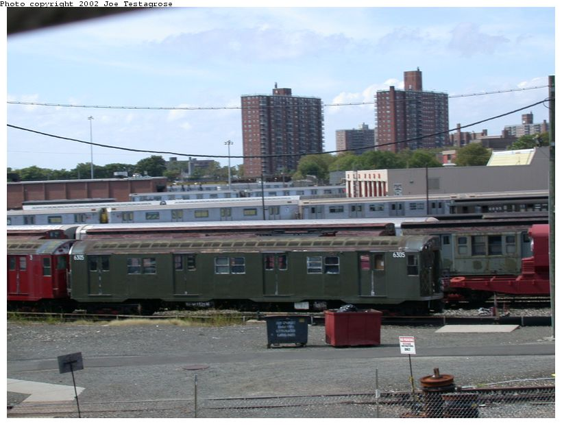 (116k, 820x620)<br><b>Country:</b> United States<br><b>City:</b> New York<br><b>System:</b> New York City Transit<br><b>Location:</b> Coney Island Yard-Museum Yard<br><b>Car:</b> R-16 (American Car & Foundry, 1955) 6305 <br><b>Photo by:</b> Joe Testagrose<br><b>Date:</b> 9/22/2002<br><b>Viewed (this week/total):</b> 1 / 3473
