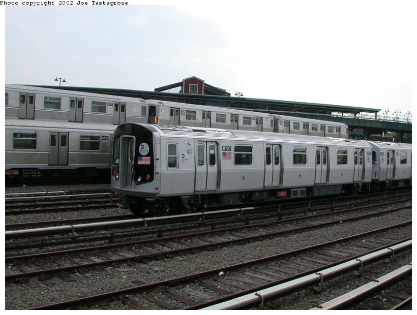 (119k, 820x620)<br><b>Country:</b> United States<br><b>City:</b> New York<br><b>System:</b> New York City Transit<br><b>Location:</b> East New York Yard/Shops<br><b>Car:</b> R-143 (Kawasaki, 2001-2002) 8120 <br><b>Photo by:</b> Joe Testagrose<br><b>Date:</b> 5/27/2002<br><b>Viewed (this week/total):</b> 0 / 5208