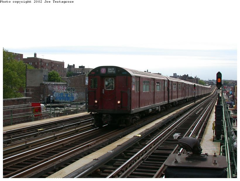 (118k, 820x620)<br><b>Country:</b> United States<br><b>City:</b> New York<br><b>System:</b> New York City Transit<br><b>Line:</b> IRT Flushing Line<br><b>Location:</b> 82nd Street/Jackson Heights <br><b>Route:</b> 7<br><b>Car:</b> R-36 World's Fair (St. Louis, 1963-64) 9398 <br><b>Photo by:</b> Joe Testagrose<br><b>Date:</b> 6/4/2002<br><b>Viewed (this week/total):</b> 2 / 2468