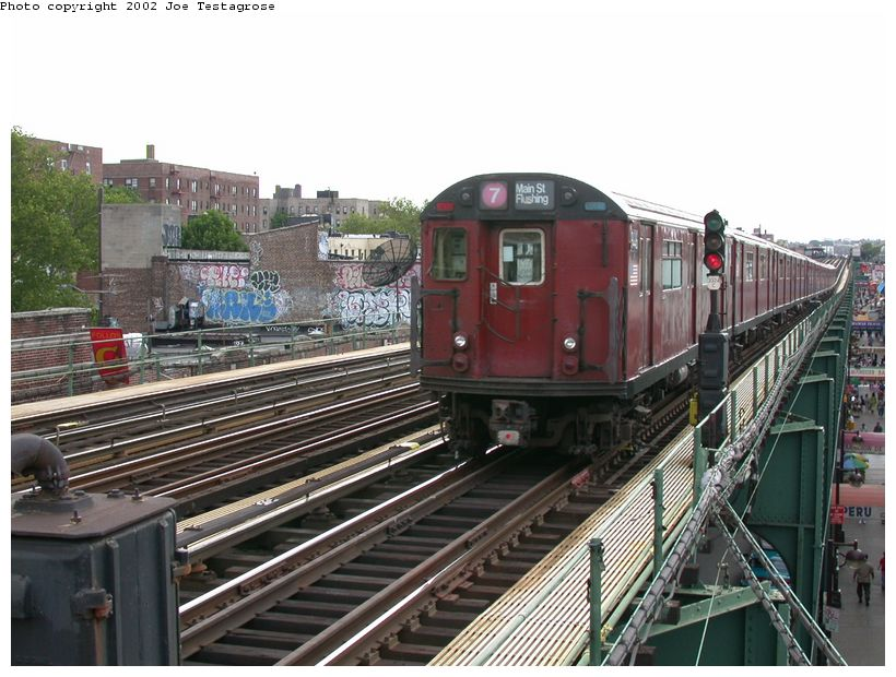 (135k, 820x620)<br><b>Country:</b> United States<br><b>City:</b> New York<br><b>System:</b> New York City Transit<br><b>Line:</b> IRT Flushing Line<br><b>Location:</b> 82nd Street/Jackson Heights <br><b>Route:</b> 7<br><b>Car:</b> R-36 World's Fair (St. Louis, 1963-64) 9446 <br><b>Photo by:</b> Joe Testagrose<br><b>Date:</b> 6/4/2002<br><b>Viewed (this week/total):</b> 0 / 3530