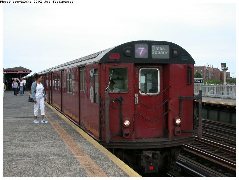(108k, 820x620)<br><b>Country:</b> United States<br><b>City:</b> New York<br><b>System:</b> New York City Transit<br><b>Line:</b> IRT Flushing Line<br><b>Location:</b> 90th Street/Elmhurst Avenue <br><b>Route:</b> 7<br><b>Car:</b> R-36 Main Line (St. Louis, 1964) 9537 <br><b>Photo by:</b> Joe Testagrose<br><b>Date:</b> 6/4/2002<br><b>Viewed (this week/total):</b> 1 / 3370