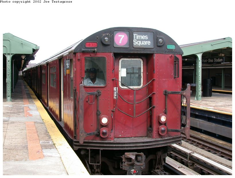 (121k, 820x620)<br><b>Country:</b> United States<br><b>City:</b> New York<br><b>System:</b> New York City Transit<br><b>Line:</b> IRT Flushing Line<br><b>Location:</b> Willets Point/Mets (fmr. Shea Stadium) <br><b>Route:</b> 7<br><b>Car:</b> R-36 World's Fair (St. Louis, 1963-64) 9649 <br><b>Photo by:</b> Joe Testagrose<br><b>Date:</b> 6/4/2002<br><b>Viewed (this week/total):</b> 0 / 1946