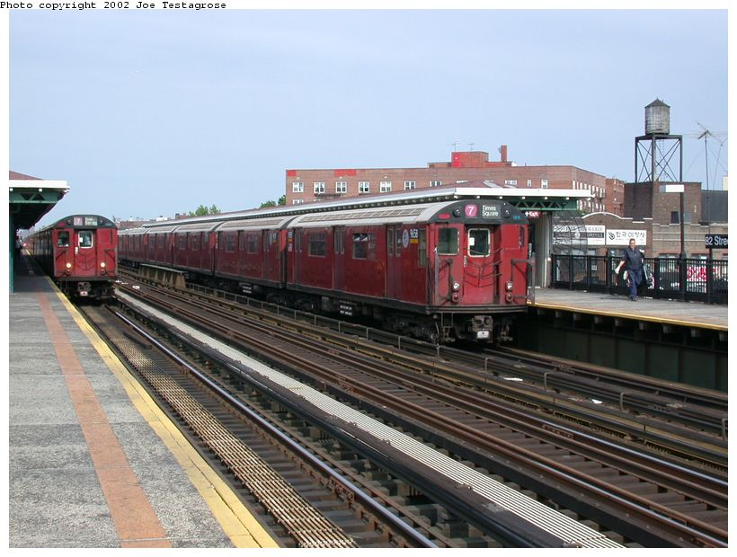 (132k, 820x620)<br><b>Country:</b> United States<br><b>City:</b> New York<br><b>System:</b> New York City Transit<br><b>Line:</b> IRT Flushing Line<br><b>Location:</b> 82nd Street/Jackson Heights <br><b>Route:</b> 7<br><b>Car:</b> R-36 World's Fair (St. Louis, 1963-64) 9658 <br><b>Photo by:</b> Joe Testagrose<br><b>Date:</b> 6/4/2002<br><b>Viewed (this week/total):</b> 0 / 3828