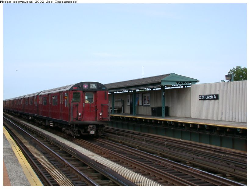 (103k, 820x620)<br><b>Country:</b> United States<br><b>City:</b> New York<br><b>System:</b> New York City Transit<br><b>Line:</b> IRT Flushing Line<br><b>Location:</b> 52nd Street/Lincoln Avenue <br><b>Route:</b> 7<br><b>Car:</b> R-36 World's Fair (St. Louis, 1963-64) 9744 <br><b>Photo by:</b> Joe Testagrose<br><b>Date:</b> 6/4/2002<br><b>Viewed (this week/total):</b> 0 / 2423