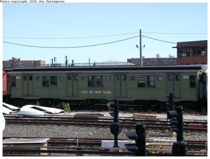 (121k, 820x620)<br><b>Country:</b> United States<br><b>City:</b> New York<br><b>System:</b> New York City Transit<br><b>Location:</b> Coney Island Yard-Museum Yard<br><b>Car:</b> R-9 (Pressed Steel, 1940)  1802 <br><b>Photo by:</b> Joe Testagrose<br><b>Date:</b> 9/22/2002<br><b>Viewed (this week/total):</b> 1 / 2448