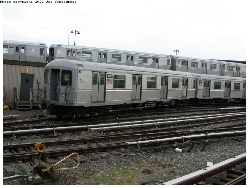 (126k, 820x620)<br><b>Country:</b> United States<br><b>City:</b> New York<br><b>System:</b> New York City Transit<br><b>Location:</b> East New York Yard/Shops<br><b>Car:</b> R-40M (St. Louis, 1969)  4471 <br><b>Photo by:</b> Joe Testagrose<br><b>Date:</b> 5/27/2002<br><b>Viewed (this week/total):</b> 1 / 3269