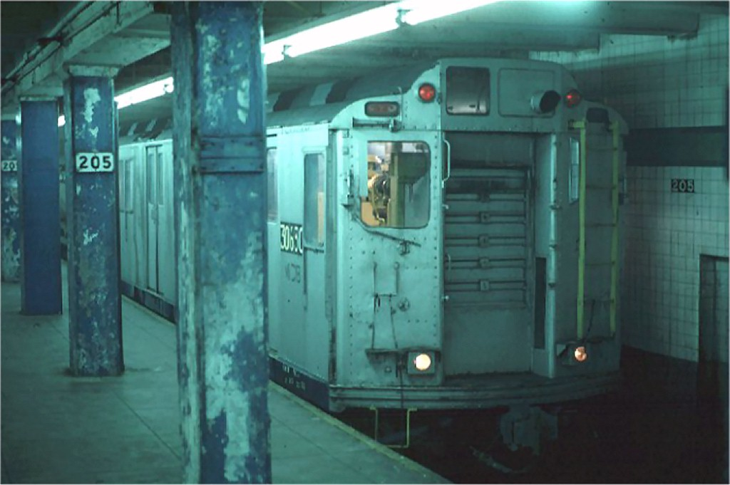 (121k, 1024x681)<br><b>Country:</b> United States<br><b>City:</b> New York<br><b>System:</b> New York City Transit<br><b>Line:</b> IND Concourse Line<br><b>Location:</b> 205th Street <br><b>Car:</b> Station Wash Train (R-12 Rebuilds)  30630 (ex-5709)<br><b>Photo by:</b> Steve Zabel<br><b>Collection of:</b> Joe Testagrose<br><b>Date:</b> 4/10/1975<br><b>Viewed (this week/total):</b> 3 / 10034