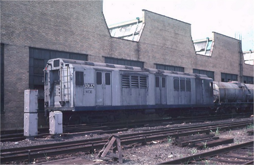 (149k, 1024x666)<br><b>Country:</b> United States<br><b>City:</b> New York<br><b>System:</b> New York City Transit<br><b>Location:</b> Coney Island Yard<br><b>Car:</b> Station Wash Train (R-12 Rebuilds)  30632 (ex-5711)<br><b>Photo by:</b> Steve Zabel<br><b>Collection of:</b> Joe Testagrose<br><b>Date:</b> 7/16/1974<br><b>Viewed (this week/total):</b> 5 / 6129