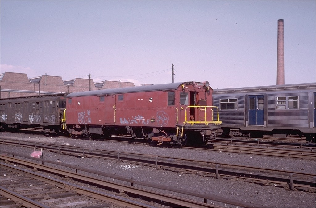 (176k, 1024x675)<br><b>Country:</b> United States<br><b>City:</b> New York<br><b>System:</b> New York City Transit<br><b>Location:</b> Coney Island Yard-Museum Yard<br><b>Car:</b> Tool Welding Car (ACF, 1918)  42 (ex-5000)<br><b>Photo by:</b> Steve Zabel<br><b>Collection of:</b> Joe Testagrose<br><b>Date:</b> 3/19/1974<br><b>Viewed (this week/total):</b> 1 / 3321