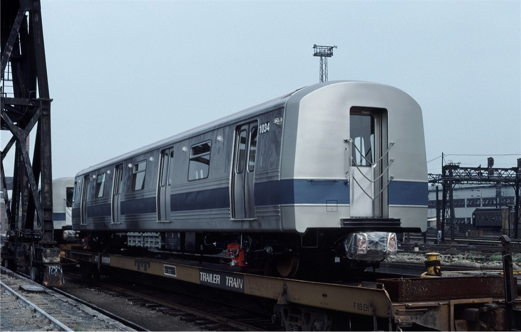(148k, 1024x652)<br><b>Country:</b> United States<br><b>City:</b> Hoboken, NJ<br><b>System:</b> New York City Transit<br><b>Location:</b> Hoboken Yard <br><b>Car:</b> R-46 (Pullman-Standard, 1974-75) 1034 <br><b>Photo by:</b> Ed McKernan<br><b>Collection of:</b> Joe Testagrose<br><b>Date:</b> 5/21/1977<br><b>Viewed (this week/total):</b> 2 / 151
