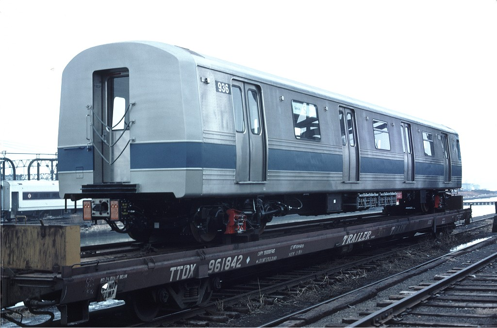 (157k, 1024x676)<br><b>Country:</b> United States<br><b>City:</b> Hoboken, NJ<br><b>System:</b> New York City Transit<br><b>Location:</b> Hoboken Yard <br><b>Car:</b> R-46 (Pullman-Standard, 1974-75) 936 <br><b>Photo by:</b> Ed McKernan<br><b>Collection of:</b> Joe Testagrose<br><b>Date:</b> 2/24/1977<br><b>Viewed (this week/total):</b> 1 / 185