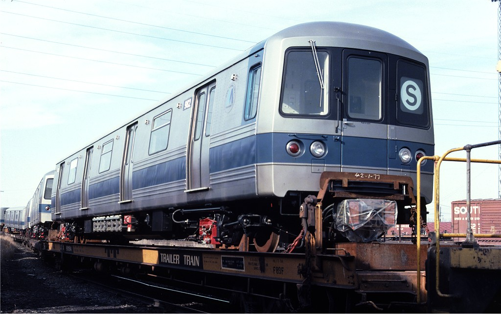 (161k, 1024x643)<br><b>Country:</b> United States<br><b>City:</b> Secaucus, NJ<br><b>System:</b> New York City Transit<br><b>Location:</b> Croxton Yard (NYCTA Equipment Delivery)<br><b>Car:</b> R-46 (Pullman-Standard, 1974-75) 982 <br><b>Photo by:</b> Ed McKernan<br><b>Collection of:</b> Joe Testagrose<br><b>Date:</b> 3/29/1977<br><b>Viewed (this week/total):</b> 0 / 147