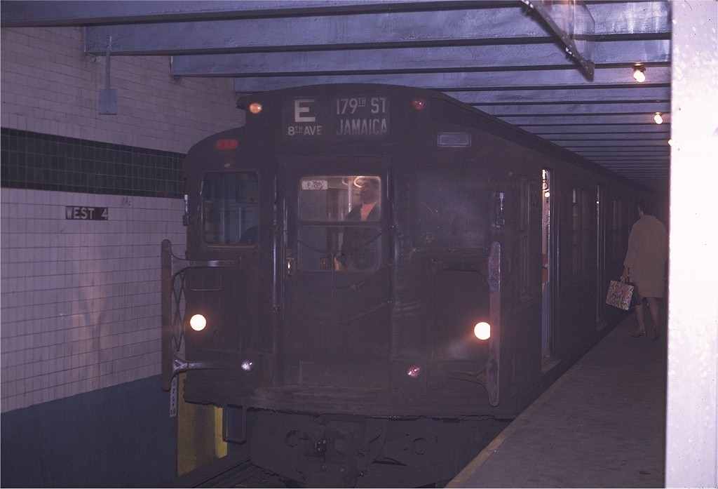 (136k, 1024x697)<br><b>Country:</b> United States<br><b>City:</b> New York<br><b>System:</b> New York City Transit<br><b>Line:</b> IND 8th Avenue Line<br><b>Location:</b> West 4th Street/Washington Square <br><b>Route:</b> E<br><b>Car:</b> R-6-3 (American Car & Foundry, 1935)  981 <br><b>Photo by:</b> Joe Testagrose<br><b>Date:</b> 4/24/1970<br><b>Viewed (this week/total):</b> 4 / 617
