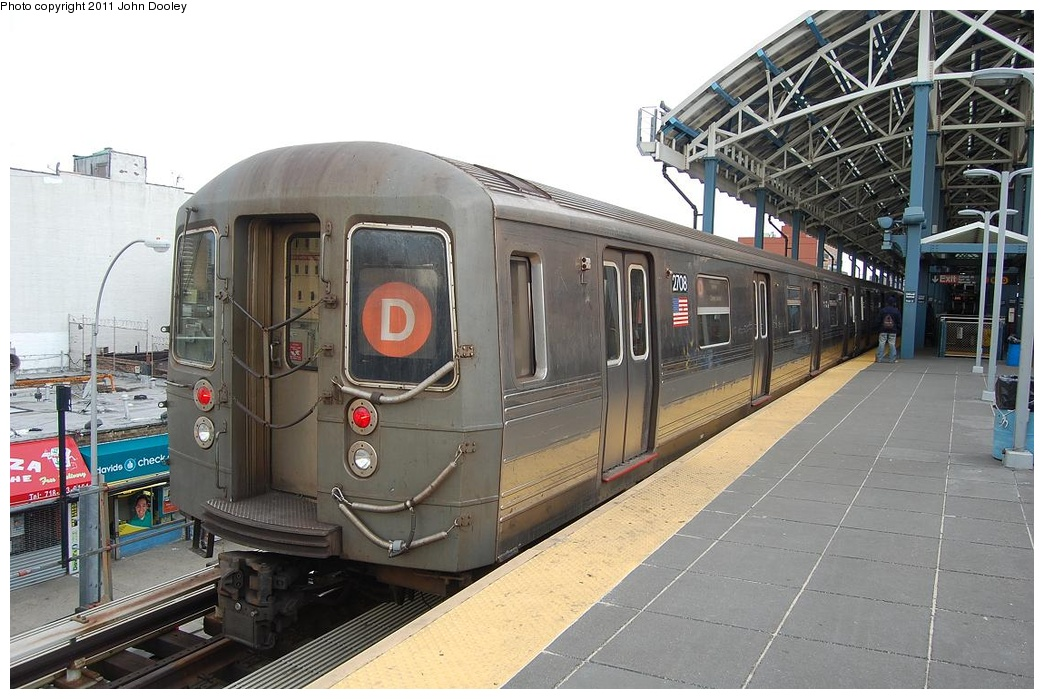 (311k, 1044x699)<br><b>Country:</b> United States<br><b>City:</b> New York<br><b>System:</b> New York City Transit<br><b>Location:</b> Coney Island/Stillwell Avenue<br><b>Route:</b> D<br><b>Car:</b> R-68 (Westinghouse-Amrail, 1986-1988)  2708 <br><b>Photo by:</b> John Dooley<br><b>Date:</b> 3/13/2011<br><b>Viewed (this week/total):</b> 0 / 446