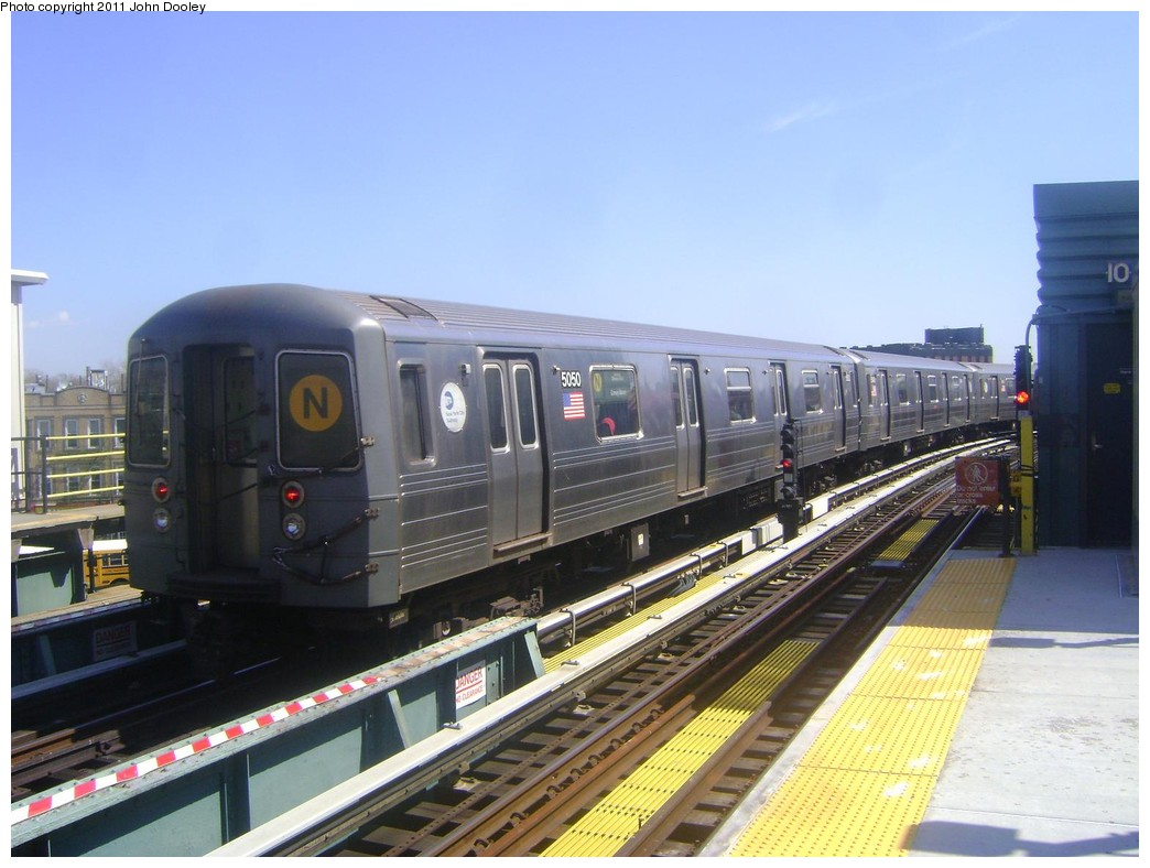 (202k, 1044x788)<br><b>Country:</b> United States<br><b>City:</b> New York<br><b>System:</b> New York City Transit<br><b>Line:</b> BMT West End Line<br><b>Location:</b> 25th Avenue <br><b>Route:</b> N reroute<br><b>Car:</b> R-68A (Kawasaki, 1988-1989)  5050 <br><b>Photo by:</b> John Dooley<br><b>Date:</b> 3/25/2011<br><b>Viewed (this week/total):</b> 4 / 991