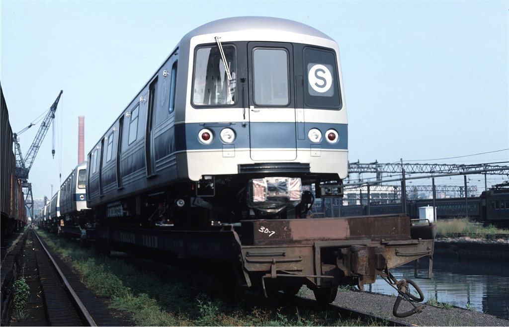 (160k, 1024x658)<br><b>Country:</b> United States<br><b>City:</b> Secaucus, NJ<br><b>System:</b> New York City Transit<br><b>Location:</b> Croxton Yard (NYCTA Equipment Delivery)<br><b>Car:</b> R-46 (Pullman-Standard, 1974-75) 1104 <br><b>Photo by:</b> Ed McKernan<br><b>Collection of:</b> Joe Testagrose<br><b>Date:</b> 8/5/1977<br><b>Viewed (this week/total):</b> 0 / 504