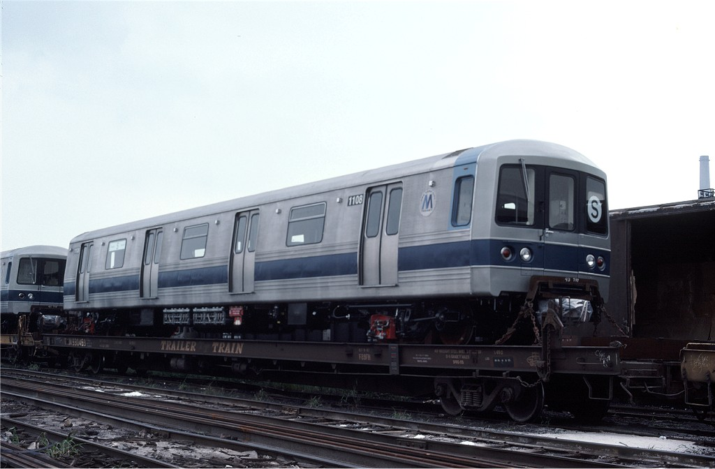 (130k, 1024x672)<br><b>Country:</b> United States<br><b>City:</b> Secaucus, NJ<br><b>System:</b> New York City Transit<br><b>Location:</b> Croxton Yard (NYCTA Equipment Delivery)<br><b>Car:</b> R-46 (Pullman-Standard, 1974-75) 1108 <br><b>Photo by:</b> Ed McKernan<br><b>Collection of:</b> Joe Testagrose<br><b>Date:</b> 8/10/1977<br><b>Viewed (this week/total):</b> 0 / 163