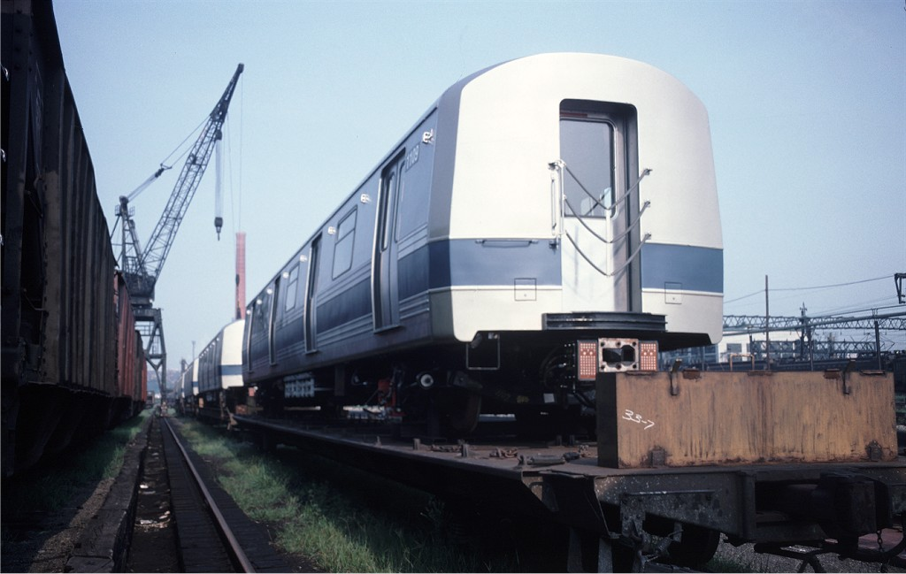 (126k, 1024x649)<br><b>Country:</b> United States<br><b>City:</b> Secaucus, NJ<br><b>System:</b> New York City Transit<br><b>Location:</b> Croxton Yard (NYCTA Equipment Delivery)<br><b>Car:</b> R-46 (Pullman-Standard, 1974-75) 1109 <br><b>Photo by:</b> Ed McKernan<br><b>Collection of:</b> Joe Testagrose<br><b>Date:</b> 8/6/1977<br><b>Viewed (this week/total):</b> 0 / 163