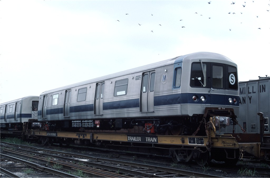 (128k, 1024x675)<br><b>Country:</b> United States<br><b>City:</b> Secaucus, NJ<br><b>System:</b> New York City Transit<br><b>Location:</b> Croxton Yard (NYCTA Equipment Delivery)<br><b>Car:</b> R-46 (Pullman-Standard, 1974-75) 1112 <br><b>Photo by:</b> Ed McKernan<br><b>Collection of:</b> Joe Testagrose<br><b>Date:</b> 8/10/1977<br><b>Viewed (this week/total):</b> 0 / 132