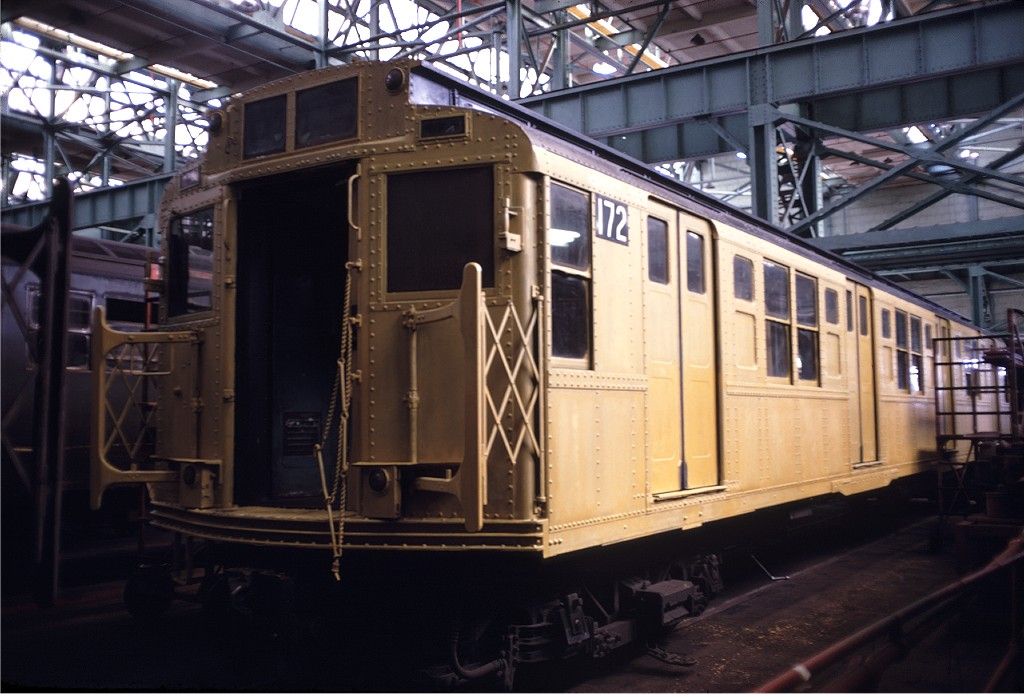 (173k, 1024x694)<br><b>Country:</b> United States<br><b>City:</b> New York<br><b>System:</b> New York City Transit<br><b>Location:</b> Coney Island Shop/Overhaul & Repair Shop<br><b>Car:</b> R-1 (American Car & Foundry, 1930-1931) 172 <br><b>Photo by:</b> Doug Grotjahn<br><b>Collection of:</b> Joe Testagrose<br><b>Date:</b> 10/6/1968<br><b>Viewed (this week/total):</b> 4 / 345
