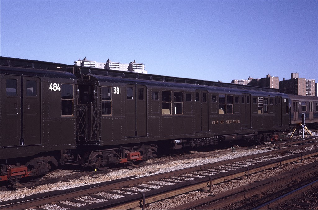 (194k, 1024x677)<br><b>Country:</b> United States<br><b>City:</b> New York<br><b>System:</b> New York City Transit<br><b>Location:</b> Coney Island Yard<br><b>Car:</b> R-1 (American Car & Foundry, 1930-1931) 381 <br><b>Photo by:</b> Steve Zabel<br><b>Collection of:</b> Joe Testagrose<br><b>Date:</b> 5/22/1971<br><b>Viewed (this week/total):</b> 0 / 334