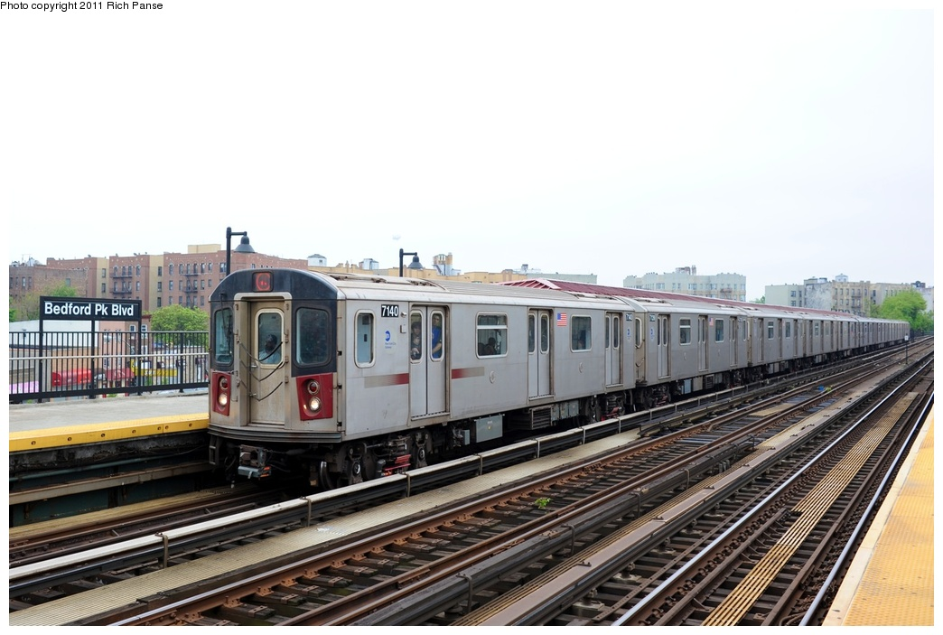 (234k, 1044x703)<br><b>Country:</b> United States<br><b>City:</b> New York<br><b>System:</b> New York City Transit<br><b>Line:</b> IRT Woodlawn Line<br><b>Location:</b> Bedford Park Boulevard <br><b>Route:</b> 4<br><b>Car:</b> R-142 (Option Order, Bombardier, 2002-2003)  7140 <br><b>Photo by:</b> Richard Panse<br><b>Date:</b> 5/22/2011<br><b>Viewed (this week/total):</b> 2 / 258